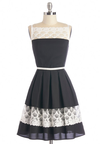 Early to the Party Dress - Black, White, Lace, Party, A-line, Sleeveless, Woven, Better, Mid-length, Lace, Exposed zipper, Pleats