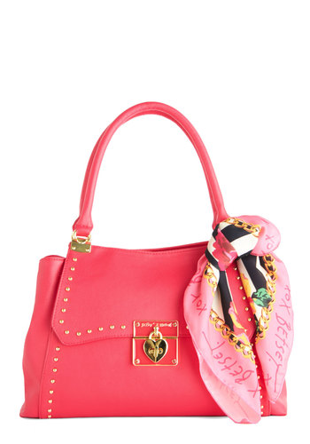 Betsey Johnson Bustling Beauty Bag by Betsey Johnson - Pink, Gold, Solid, Studs, Spring, Summer, Pink, Faux Leather