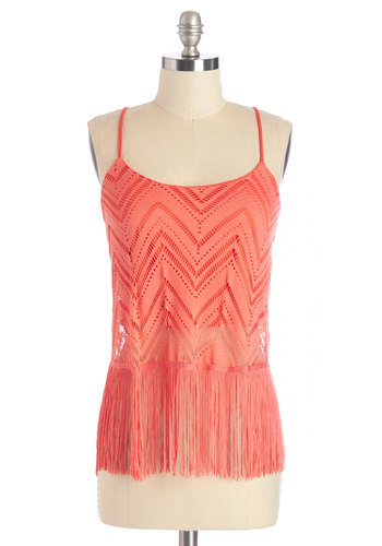 Fringe Fest Artist Top - Mid-length, Coral, Solid, Cutout, Fringed, Daytime Party, Beach/Resort, Boho, Vintage Inspired, 70s, Festival, Spaghetti Straps, Summer, Sheer, Orange, Sleeveless, Casual