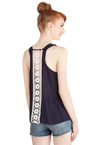 Crafting Inspiration Top - Mid-length, Sheer, Woven, Blue, Solid, Casual, Sleeveless, Spring, Summer, Blue, Sleeveless, White, Crochet, Scoop