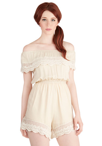 Sunshine Your Light Romper in Ivory - Spring, Summer, White, Romper, Long, Good, Woven, Crochet, Casual, Beach/Resort, Boho, Festival, Cream, Vintage Inspired, 70s, Off the Shoulder