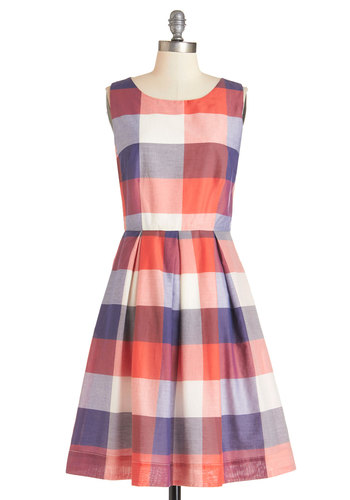 Chalk of the Town Dress in Plaid by Bea & Dot - Cotton, Woven, Multi, Red, Blue, White, Plaid, Pleats, Pockets, Casual, Daytime Party, Scholastic/Collegiate, Sleeveless, Exclusives, Variation, Private Label, Americana, Summer, Full-Size Run, Mid-length, Fit & Flare