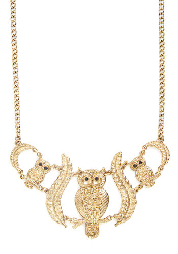 Hoot Has Your Heart? Necklace - Print with Animals, Owls, Statement, Gold, Exclusives, Gold, Woodland Creature