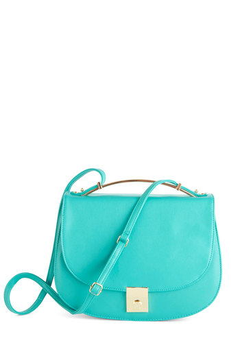 Aquas and Effect Bag - Blue, Solid, Blue, Faux Leather, Party