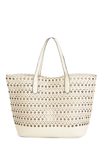 A Cutout Above the Best Tote - Solid, Daytime Party, Beach/Resort, Spring, Summer, White, Faux Leather, Cream, Cutout, Travel