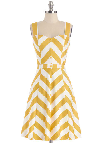 'Atta Twirl Dress by Bea & Dot - Woven, Yellow, White, Chevron, Buttons, Casual, A-line, Tank top (2 thick straps), Better, Sweetheart, Pockets, Daytime Party, Exclusives, Private Label, Summer, Top Rated, Full-Size Run, Spring, Nautical, Vintage Inspired, 40s, Mid-length
