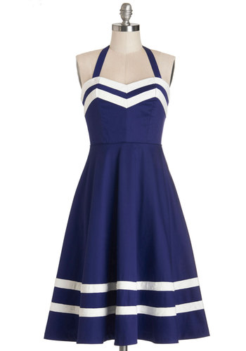 Georgia Gallivanting Dress in Navy by Bea & Dot - Woven, Blue, White, Trim, Party, Daytime Party, Nautical, Vintage Inspired, 50s, Halter, Exclusives, Private Label, Sweetheart, Full-Size Run, Pockets, Rockabilly, Pinup, Fit & Flare, Long