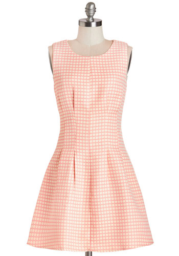 Convivial Brunch Dress - Pink, Tan / Cream, Print, Casual, Vintage Inspired, 90s, Fit & Flare, Sleeveless, Summer, Woven, Better, Scoop, Short, Daytime Party