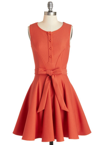 Flit and Flare Dress - Coral, Solid, Buttons, Belted, Daytime Party, Fit & Flare, Sleeveless, Knit, Better, Scoop, Mid-length