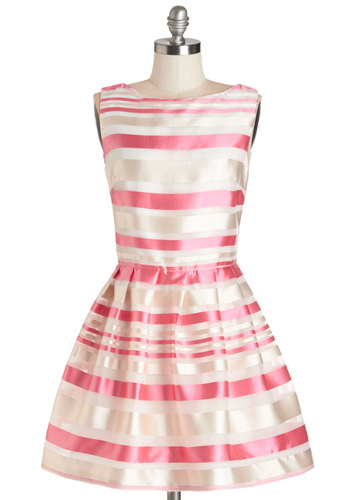 Cirque de Sorbet Dress - Pink, Tan / Cream, Stripes, Pleats, Special Occasion, Party, A-line, Sleeveless, Woven, Better, Boat, Short, Satin, Exposed zipper