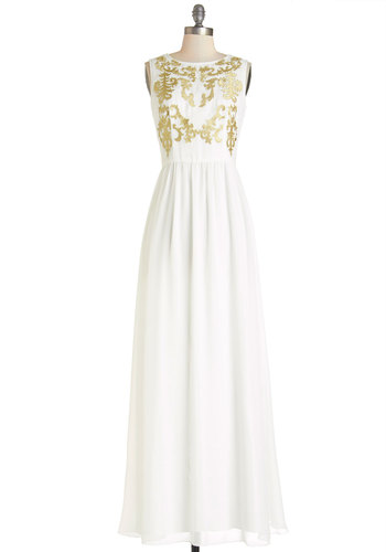 Pause for Applause Dress by Chi Chi London - White, Gold, Special Occasion, Wedding, Bride, Maxi, Sleeveless, Better, Scoop, Long, Woven, Embroidery