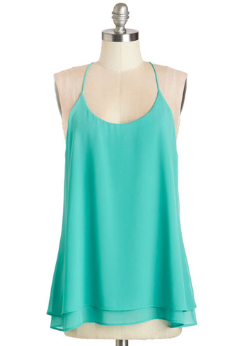 The Lithe Aquatic Top in Seafoam - Mid-length, Woven, Blue, Solid, Girls Night Out, Daytime Party, Spaghetti Straps, Summer, Blue, Sleeveless, Variation
