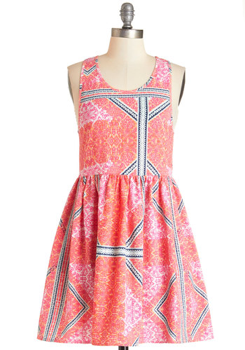 Vivid Vitality Dress by Mink Pink - Multi, Print, Casual, Sundress, Festival, A-line, Sleeveless, Summer, Woven, Better, Scoop, Mid-length, Pink, Pockets, Boho