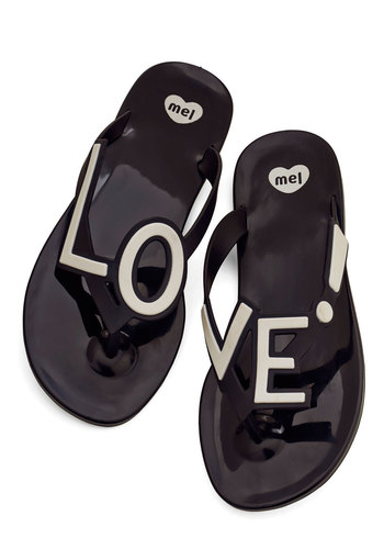 Stylish Expression Sandal by Mel Shoes - Black, White, Novelty Print, Beach/Resort, Statement, Flat, Good, Quirky, Sayings, Summer, Valentine's, Press Placement