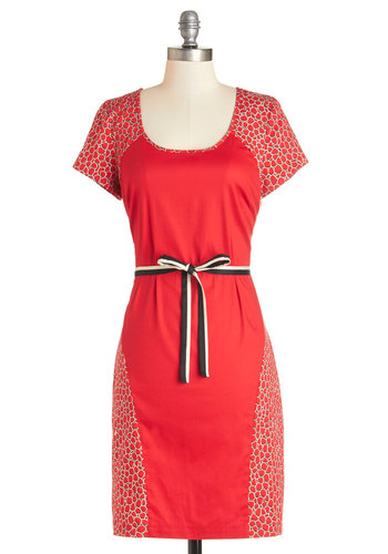 Cobbles the Mind Dress - Red, Black, White, Belted, Casual, Shift, Short Sleeves, Summer, Better, Scoop, Mid-length, Woven