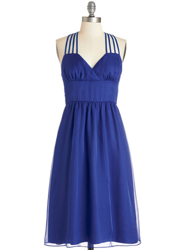 Come On, Get Strappy Dress - Woven, Blue, Solid, Wedding, Bridesmaid, A-line, Better, Pockets, Sleeveless, Exclusives, Full-Size Run, Party, Homecoming, Long, Prom