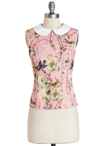 Serene Scenes Top - Mid-length, Woven, Pink, Floral, Peter Pan Collar, Work, Daytime Party, Vintage Inspired, Darling, Sleeveless, Spring, Summer, Collared, Pink, Sleeveless, Print with Animals, Critters, Bird, Woodland Creature