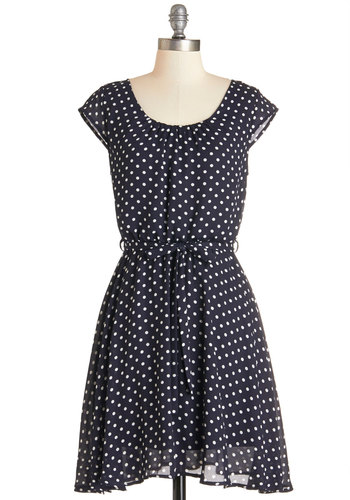 In the Winsome Circle Dress - Blue, Tan / Cream, Polka Dots, Belted, Casual, Americana, A-line, Woven, Better, Scoop, Mid-length, Cap Sleeves
