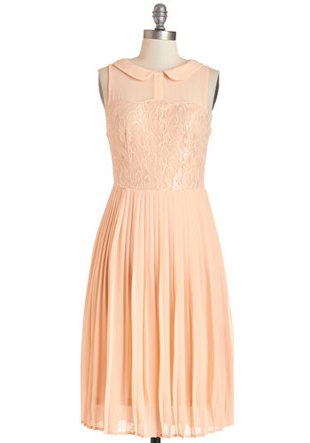 Dreamy in Peach Dress - Orange, Solid, Lace, Special Occasion, Prom, A-line, Sleeveless, Summer, Woven, Better, Collared, Long, Chiffon, Lace, Peter Pan Collar, Pleats, Daytime Party, Pastel