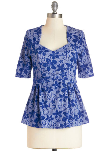 Project Panache Top - Mid-length, Knit, Blue, Floral, Work, Short Sleeves, Blue, Short Sleeve