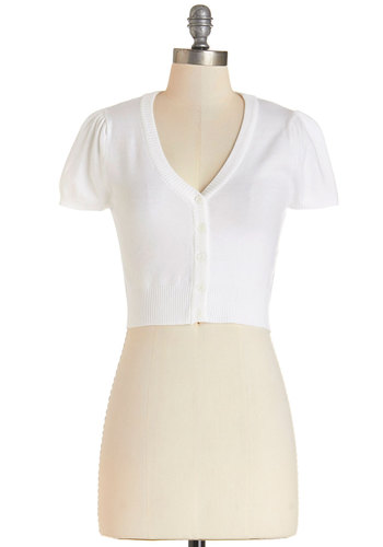 There's an Apple for That Cardigan in White - Short, White, Solid, Work, Daytime Party, Vintage Inspired, Darling, Cropped, Short Sleeves, Spring, Summer, Variation, White, Short Sleeve, Buttons