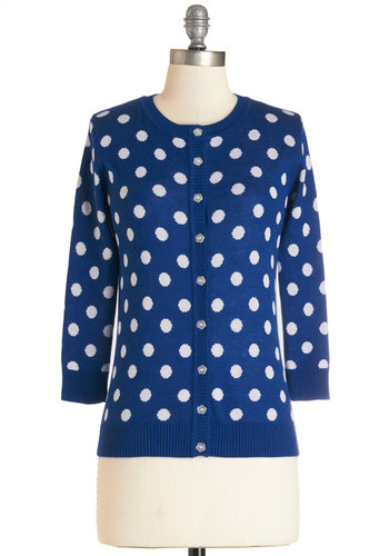 Jukebox Jubilee Cardigan in Blue - Mid-length, Knit, Blue, Polka Dots, Buttons, Work, Vintage Inspired, Darling, Long Sleeve, Variation, Blue, Long Sleeve, White