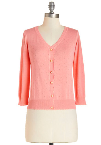 After School Lounging Cardigan in Peach - Short, Knit, Pink, Orange, Solid, Buttons, Work, Vintage Inspired, Darling, Long Sleeve, Spring, Variation, Pink, Long Sleeve, Casual, Daytime Party