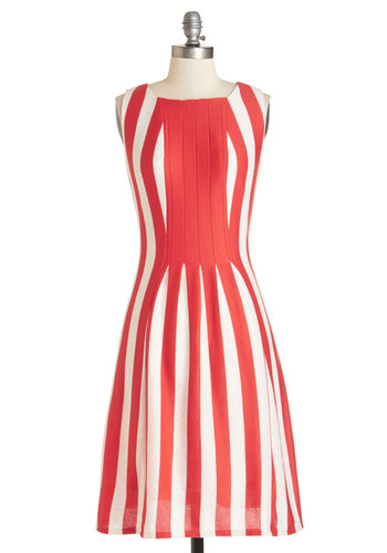 Impeccable Icebox Cake Dress - Red, White, Stripes, Daytime Party, Americana, A-line, Sleeveless, Summer, Better, Long, Knit