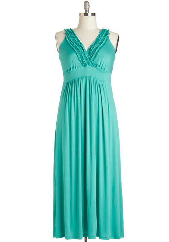 Sea the Sights Dress in Turquoise - Plus Size - Jersey, Knit, Green, Solid, Ruffles, Casual, Maxi, Sleeveless, Good, V Neck, Variation