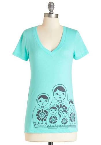 Doll She Wrote Tee - Blue, Short Sleeve, Mid-length, Knit, Blue, Novelty Print, Casual, Quirky, Short Sleeves, Summer, V Neck