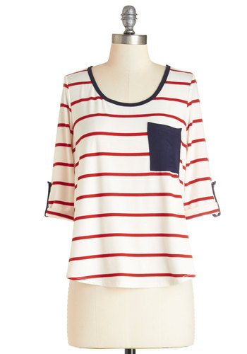 Pier and Now Top - Mid-length, Knit, White, Stripes, Casual, Nautical, 3/4 Sleeve, Spring, Summer, White, 3/4 Sleeve, Multi, Red, Blue, Pockets, Trim, Scoop