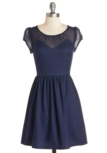 Arrive with Aplomb Dress - Blue, Solid, Party, A-line, Cap Sleeves, Woven, Good, Scoop, Short