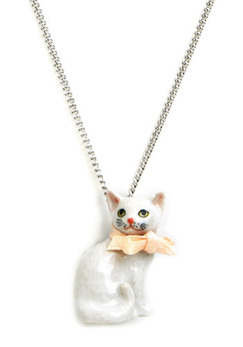 Purrfectly Pretty Necklace - White, Solid, Casual, Cats, Darling, Critters