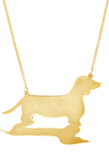 Doxie Moxie Necklace - Solid, Casual, Minimal, Critters, Gold, Quirky, Dog