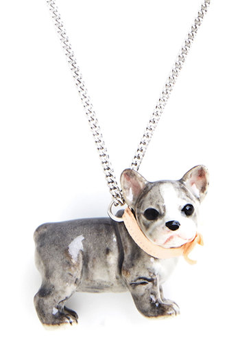Bulldog in a China Shop Necklace - Multi, Casual, Critters, Darling, Dog