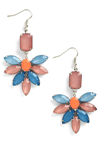 One Shine Day Earrings - Blue, Solid, Flower, Silver, Multi, Coral, Statement