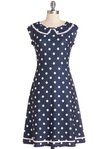 Author Outings Dress in Dots by Myrtlewood - Blue, White, Polka Dots, Party, Vintage Inspired, A-line, Sleeveless, Better, Scoop, Pockets, Trim, Nautical, 40s, 50s, Exclusives, Variation, Private Label, Scholastic/Collegiate, Work, Full-Size Run, Top Rated, Long