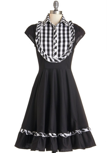 Show 'Em a Swing or Two Dress by Fables by Barrie - Black, White, Checkered / Gingham, Buttons, Ruffles, Casual, Rockabilly, Fit & Flare, Cap Sleeves, Woven, Better, Collared, Long