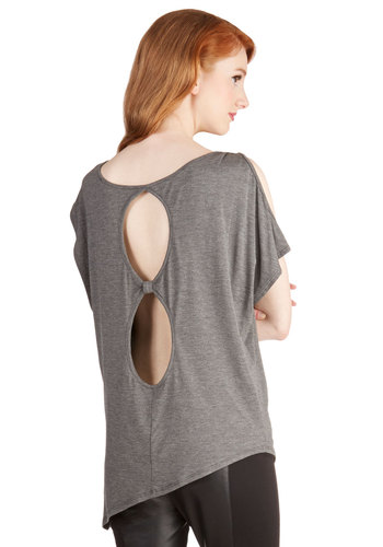 Hit the Roadtrip Top in Charcoal - Long, Knit, Grey, Solid, Cutout, Casual, Short Sleeves, Variation, Basic, Grey, Short Sleeve