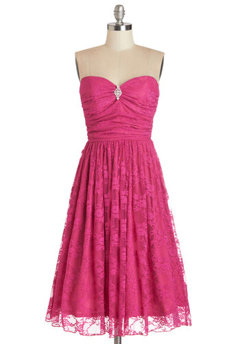 Midnight Mambo Dress in Magenta - Pink, Solid, Lace, Rhinestones, Prom, Party, Fit & Flare, Better, Sweetheart, Special Occasion, Strapless, Knit, Lace, Vintage Inspired, 50s, Exclusives, Long, Cocktail, Full-Size Run