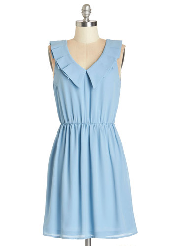 Savor the Sunrise Dress - Blue, Solid, Casual, A-line, Sleeveless, Summer, Woven, Good, V Neck, Mid-length