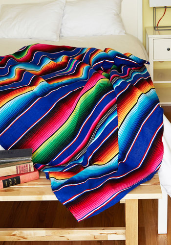 Polychromatic Cuddles Throw Blanket by Karma Living - Woven, Multi, Boho, Best, Stripes, Festival