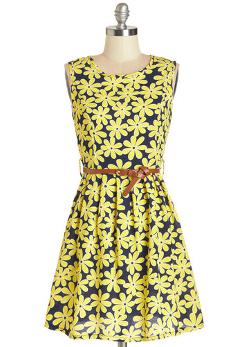 100% Pure Loveliness Dress - Yellow, Black, Floral, Belted, Casual, Vintage Inspired, 90s, A-line, Sleeveless, Summer, Woven, Good, Scoop, Mid-length