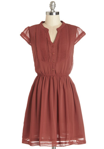 Ready, Russet, Go! Dress - Red, Solid, Buttons, Casual, A-line, Cap Sleeves, Woven, Good, V Neck, Chiffon, Short