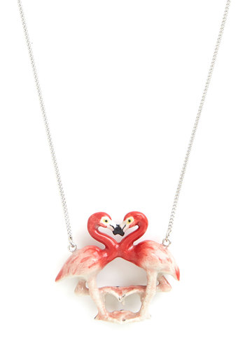 Flamingo Affection Necklace - Pink, Quirky, Darling, Critters, Gals