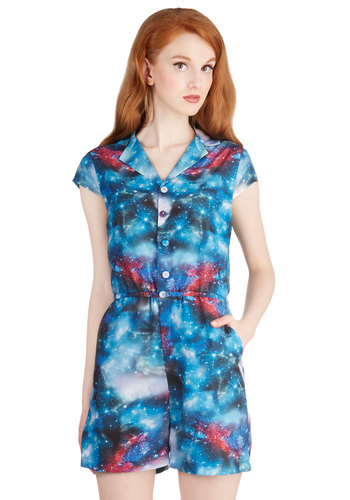 Material Galaxy Romper - Woven, Better, Blue, Short Sleeve, Romper, Blue, Novelty Print, Buttons, Pockets, Casual, Cosmic, Collared, Nifty Nerd, Cap Sleeves, Exclusives