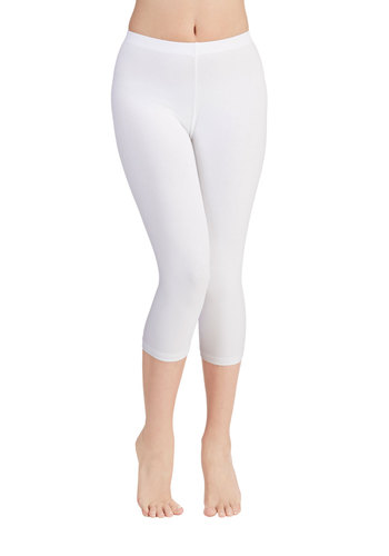Rise to the Crop Legging in White - Knit, White, Solid, Casual, Minimal, Cropped, Variation, Basic