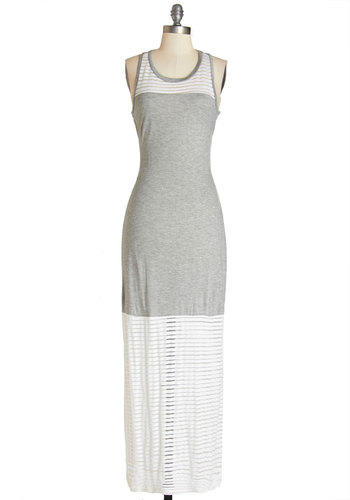 Balmy and Breezy Dress - Grey, White, Casual, Beach/Resort, Colorblocking, Maxi, Sleeveless, Summer, Knit, Good, Scoop, Long, Jersey