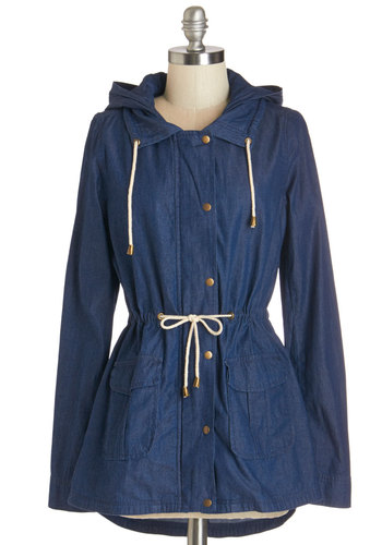 The Dock at Dusk Jacket - Blue, Mid-length, Cotton, Denim, Woven, Blue, Solid, Buttons, Pockets, Casual, Nautical, Long Sleeve, Spring, Best, 1, Press Placement