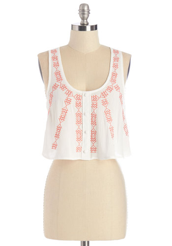 Waterfront Picnic Top - Short, Woven, White, Embroidery, Daytime Party, Beach/Resort, Boho, Vintage Inspired, 70s, Festival, Cropped, Sleeveless, Summer, White, Sleeveless, Red, Buttons, Scoop